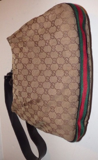 Gucci Popular Style Accessory Col Print Navy/Red Stripe Snap Front Pocket/Top Zip Hobo Bag Image 6