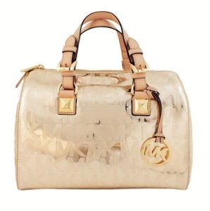 Michael Kors Leather Grayson Satchel in Pale Gold