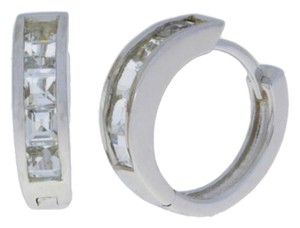 Other 2.5 Carat White Sapphire Princess Cut Hoop Earrings .925 Sterling Silver
