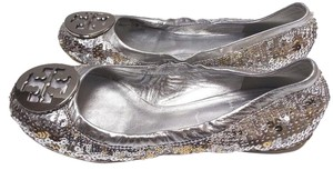 Tory Burch Sleek Sparkly Silver and Gold Flats