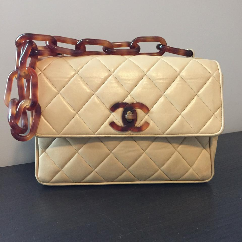 d13a862d7c06 Chanel Vintage Tortoise Chain Small Flap Beige Lambskin Shoulder Bag -  Tradesy