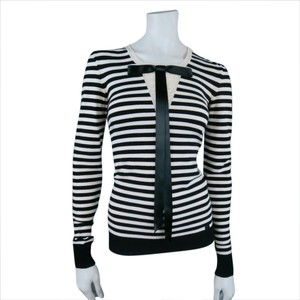 Chanel Striped Longsleeve Sailor Scopneck Bow Sweater