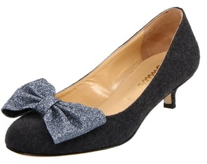 Butter Flannel Bow Gray Heel Party Holiday Sparkly Dainty Manolo Choo Dance Gray/Glitter Pumps