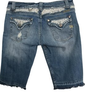 Miss Me Lace Eyelet Lace Denim Shorts-Distressed
