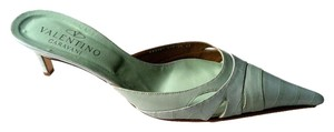 Valentino Stamped Croc Kitten Heel Pointed Toe Sea Green Mules
