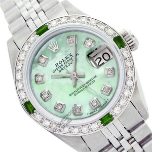 Rolex LADIES ROLEX 6917 DATEJUST SS GREEN MOP DIAMOND & EMERALD WATCH