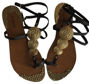 bebe Black and Gold Sandals
