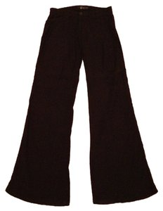 Level 99 Trousers Linen Boot Cut Pants navy blue