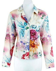 Coldwater Creek Coldwater Creek P12 Cream Purple Pink Blue Orange Multi Button Blazer B125