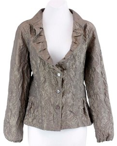 Chico's 1 Crinkle Ls Ruffle Front Gathered Peplum B125 Taupe Shimmer Jacket