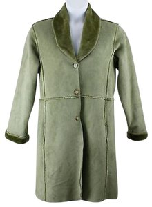 TravelSmith 4066 Olive Exposed Seams Faux Fur Lined Faux Suede Lb Coat