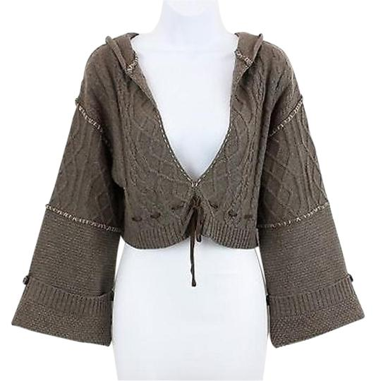 low-cost La Rock Taupe Tan Brown Accent Bell Slv Hooded Cropped Boho