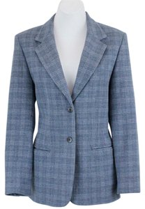 Pendleton Pendleton Gray Blue Plaid Button Wool Womens Blazer B108