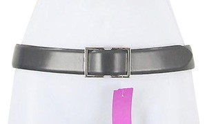 Ellen Tracy Linda Allard For Ellen Tracy Gray Leather 7201 Silver Buckle Belt B79