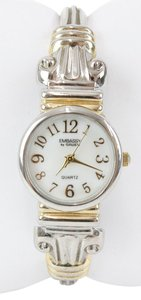Gruen Embassy By Gruen Silver And Goldtone Metal Hinged Bracelet Watch Bj15