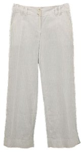 Michael Kors X Linen Blend Pin Striped Trousers B306 Relaxed Pants White