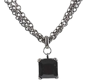 New York & Company Ny 17 2 Gunmetal Chain Black .75 Square Cut Stone Necklace Bj15