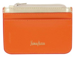 Neiman Marcus Neiman Marcus Orange Gold Leather Id Coin Purse B325