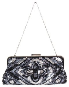 BCBGMAXAZRIA Sequins Beaded Convertible B325 Black Silver Gray Clutch