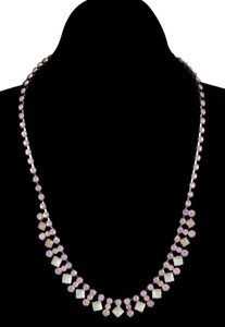 Pink Rhinestone White Faceted Stone Silvertone 18 3 Extender Necklace Bj15