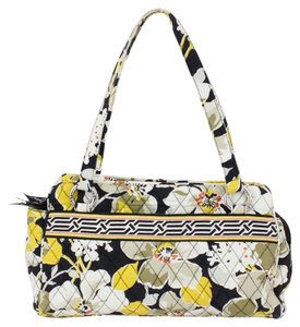 Vera Bradley Multi Floral Quilted B325 Satchel in Cream Black Yellow Olive Orange