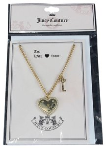 Juicy Couture Juicy Couture Goldtone Rhinestone Heart Lock And Key Necklace Card Bj04