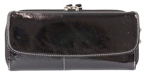 Liz Claiborne Liz Claiborne Black Patent White Stitch Zip Around Snap Wallet B325