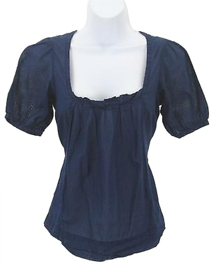 3b2d4bff good American Eagle Outfitters 0 Navy Textured Stripe Pleated Neck Ss Top  B210