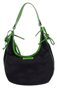 Kate Spade Black Nylon Kelly Green Leather Trim B331 Hobo Bag