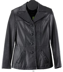 Wilsons Leather Maxima Black Button Jacket