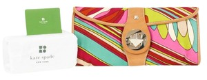 Kate Spade Burgundy Lime Green Pink Multi Tan Leather Gold Clasp B117 Multi-Color Clutch