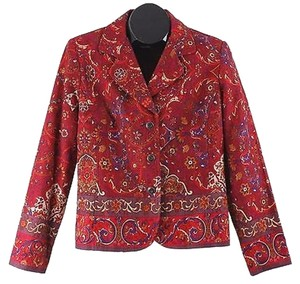 Coldwater Creek Burgundy Multicolored Paisley Textured Cotton B19 Jacket