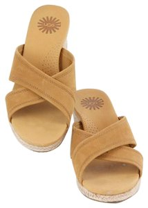 UGG Australia Ugg Camel Leather Tan Rope Mid Wedge Heel Slide B344 Camel Tan Sandals