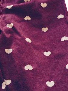 H&M Burgandy/ Purple With White Hearts Leggings