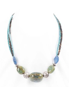 Coldwater Creek Coldwater Creek 17.5 2.25 Ext. Silver Aqua Brown Green Blue Beaded Necklace B
