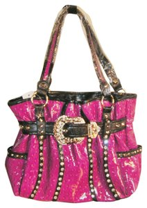Unknown Handbag Hot Rhinestone Bling Western Black Patent Leather Hobo Bag