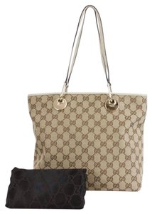 Gucci Logo Tote in Tan Brown Cream