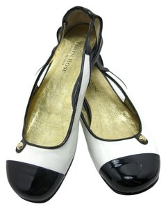 Taryn Rose White and Black Patent Leather Flats