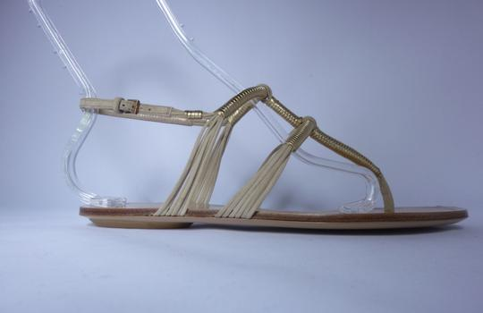 Gucci Leather Gold Cream/Gold Sandals