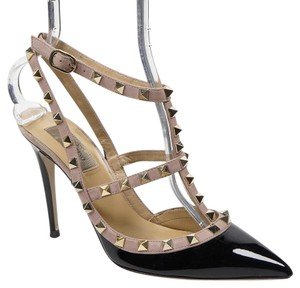 Valentino Rockstud Patent Leather Caged Black Pumps
