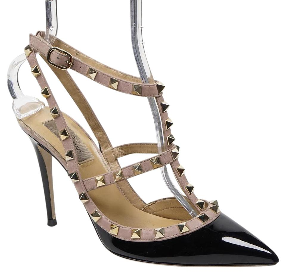 78c0e4b7ba02 Valentino Black Rockstud 38.5 8 Patent Leather Ankle Strap Caged Pointed  Toe Pumps