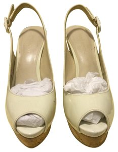 Nine West Patent Leather Peep Toe Platform White shell Wedges