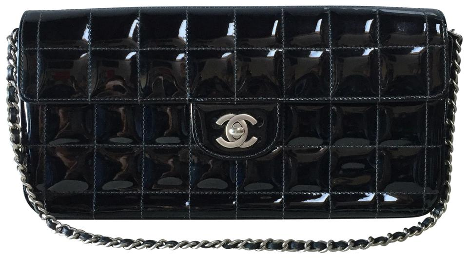 4e31ba5dabed Chanel East West Quilted Chocolate Bar Flap Black Patent Leather ...