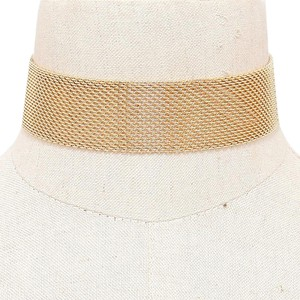 Modern Edge Gold Mesh Choker Necklace