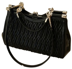 Coach Elegant Twisted Leather Satchel in Black