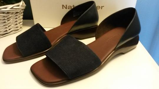 Naturalizer Denim Wedge Style Heel Padded Insole Leather Navy Blue Sandals Image 1