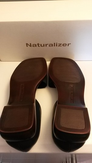 Naturalizer Denim Wedge Style Heel Padded Insole Leather Navy Blue Sandals Image 2