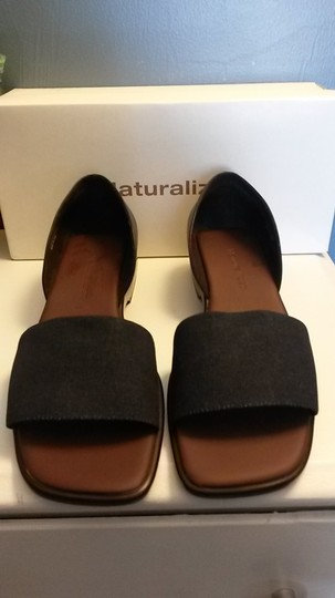 Naturalizer Denim Wedge Style Heel Padded Insole Leather Navy Blue Sandals Image 3