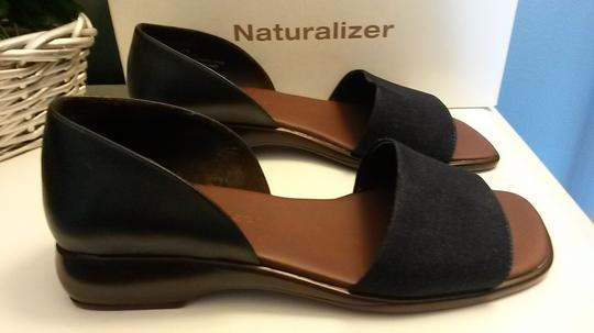 Naturalizer Denim Wedge Style Heel Padded Insole Leather Navy Blue Sandals Image 4