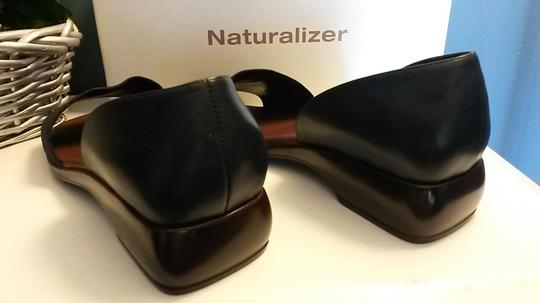 Naturalizer Denim Wedge Style Heel Padded Insole Leather Navy Blue Sandals Image 5